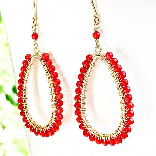 Ruby Red Teardrop Beaded Earrings