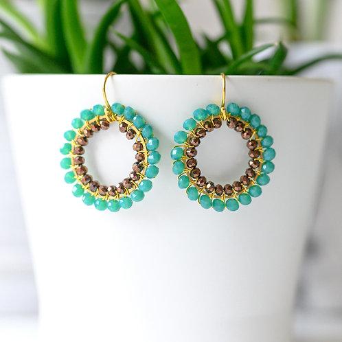 Turquoise & Bronze Double Beaded Round Earrings