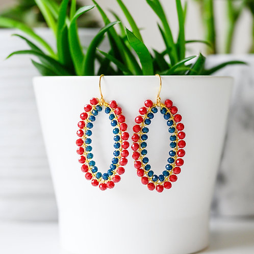 Ruby Red & Oxford Blue Double Beaded Oval Earrings