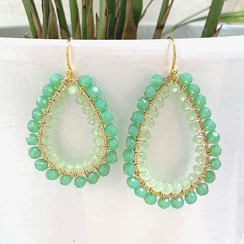 Mint Green & Pale Mint Green Double Beaded Teardrop Earrings