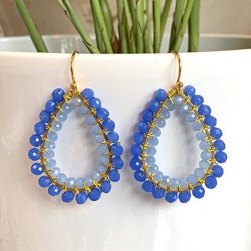 Cornflower Blue & Pale Blue Double Beaded Teardrop Earrings