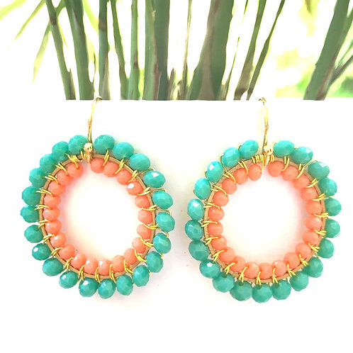 Seafoam & Coral Double Beaded Round Earrings