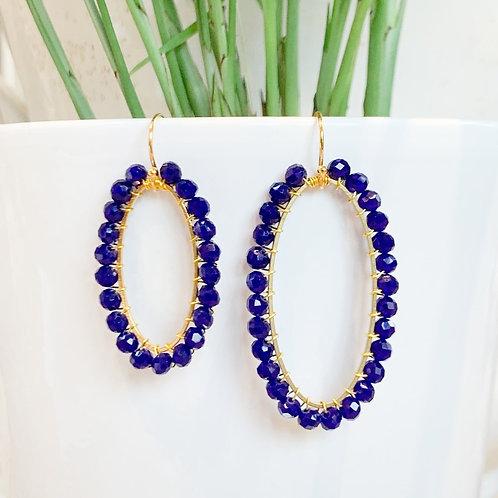 Electric Blue Oval Beaded Earrings