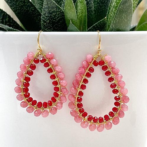 Bubblegum Pink Jade & Ruby Red Double Beaded Teardrop Earrings