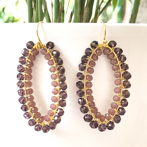 Sparkly Grape & Dusky Pink Double Beaded Oval Earrings