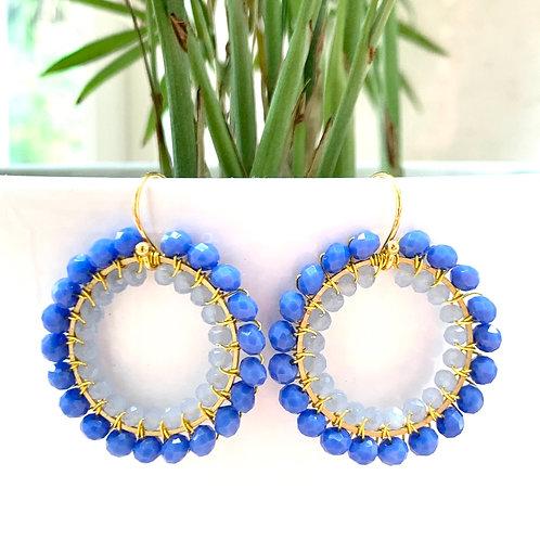 Cornflower Blue & Pale Blue Round Double Beaded Earrings