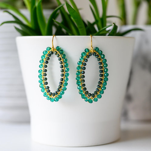 Teal & Petrol Double Beaded Oval Earrings