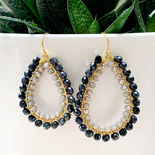 Sparkly Black & Sparkly Grey Double Beaded Teardrop Earrings