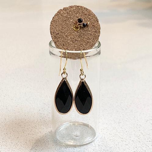 Large Black Onyx Teardrop Earrings in Corked Tube
