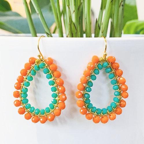 Orange & Turquoise Double Beaded Teardrop Earrings