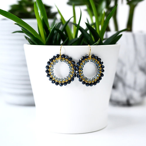 Black & Translucent Grey Double Beaded Round Earrings