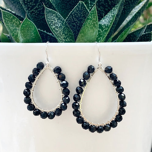 Black Beaded Teardrop Earrings (Silver)