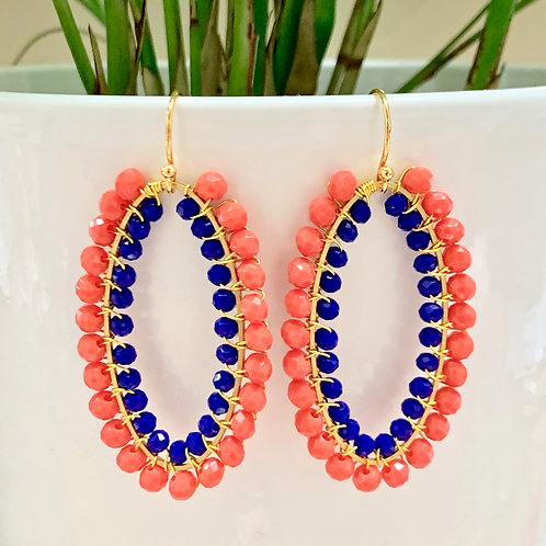 Coral & Electric Blue Double Beaded Oval Earrings