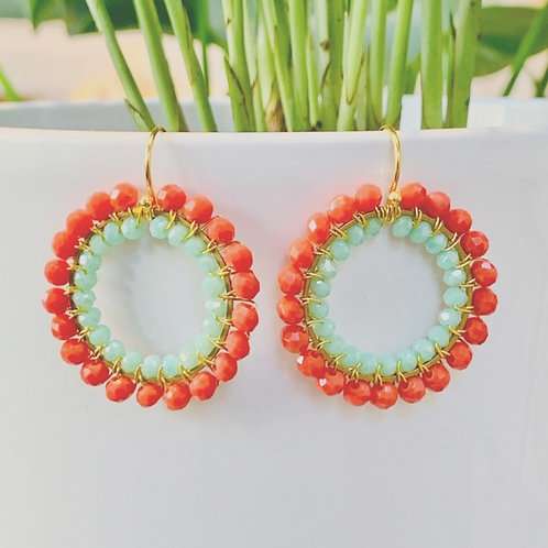 Coral & Pale Mint Green Double Beaded Round Earrings