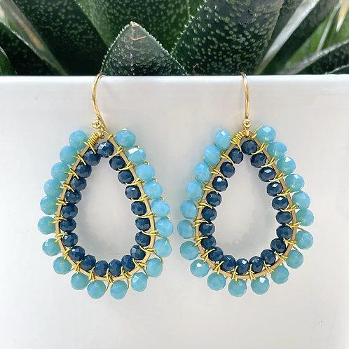 Turquoise & Oxford Blue Double Beaded Teardrop Earrings