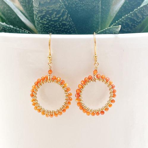 Orange Crystal Round Beaded Earrings