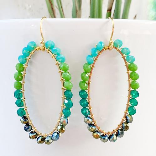 Turquoise, Green, Teal & Petrol Oval Beaded Earrings