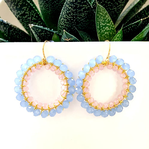Pale Blue & Pale Pink Double Beaded Round Earrings