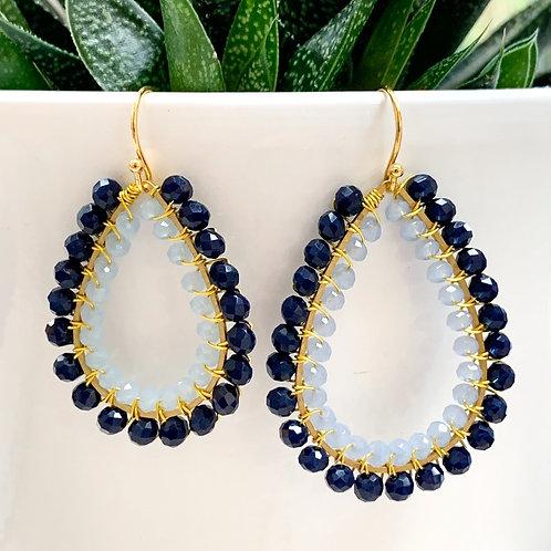Midnight Blue & Pale Blue Double Beaded Teardrop Earrings