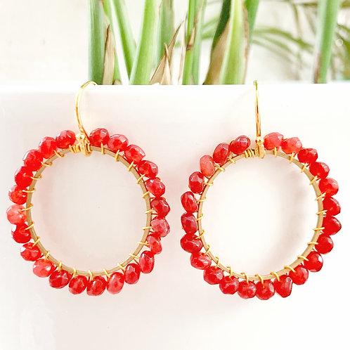 Red Carnelian Round Beaded Earrings