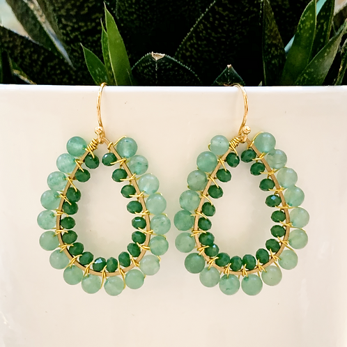 Aventurine & Evergreen Double Beaded Teardrop Earrings