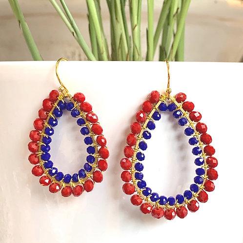 Ruby Red & Electric Blue Double Beaded Teardrop Earrings