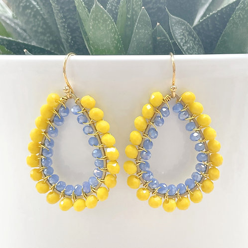 Yellow & Sparkly Cornflower Blue Double Beaded Teardrop Earrings