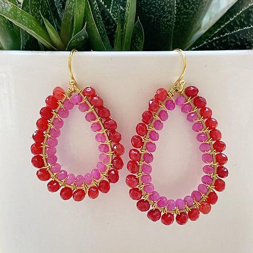 Ruby Red Jade & Hot Pink Jade Double Beaded Teardrop Earrings