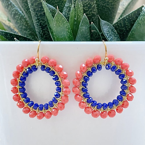 Coral & Electric Blue Double Beaded Round Earrings