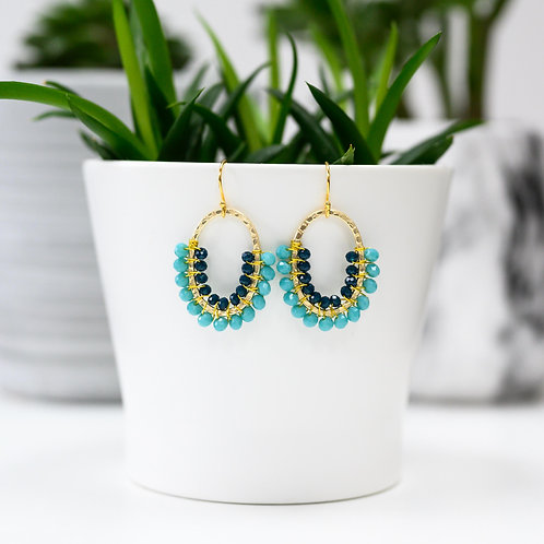 Turquoise & Oxford Blue Double Beaded 3/4 Oval Earrings