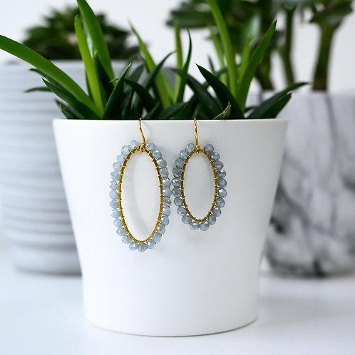 Grey Oval Earrings