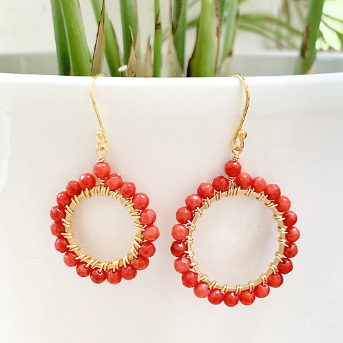 Red Round Beaded Earrings