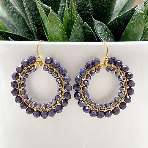 Dusky Purple & Sparkly Purple Double Beaded Round Earrings