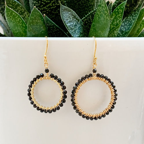 Black Onyx Round Beaded Earrings