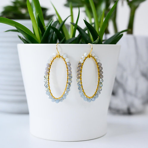Grey Ombré Oval Beaded Earrings