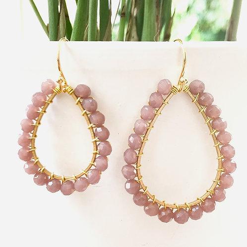 Dusky Pink Teardrop Beaded Earrings