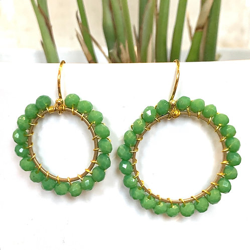 Grass Green Round Beaded Earrings