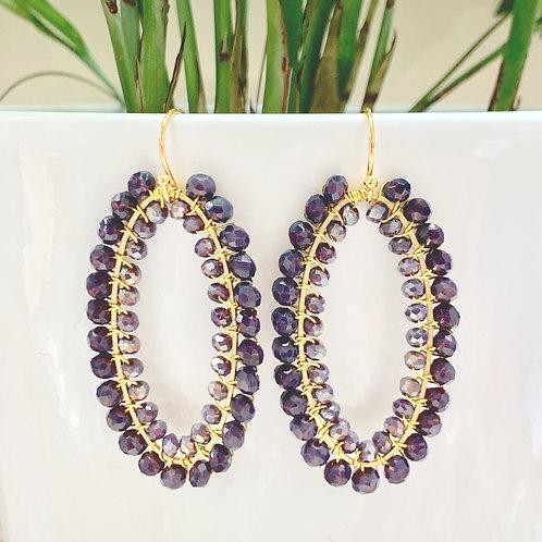 Dusky Purple & Sparkly Purple Double Beaded Oval Earrings