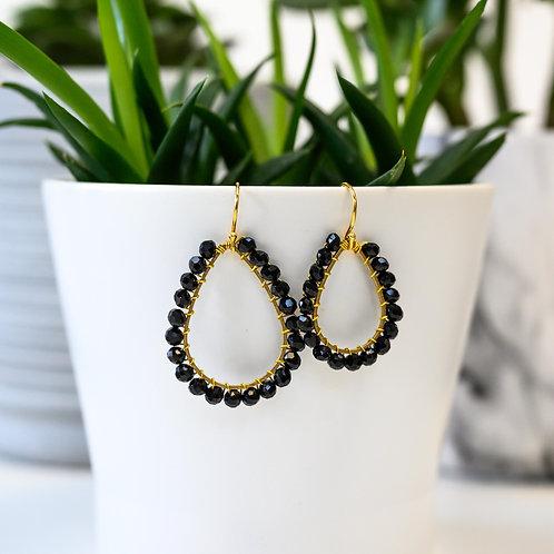 Black Teardrop Beaded Earrings