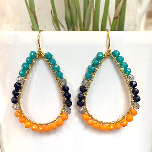 Aqua, Midnight Blue & OrangeTeardrop Beaded Earrings