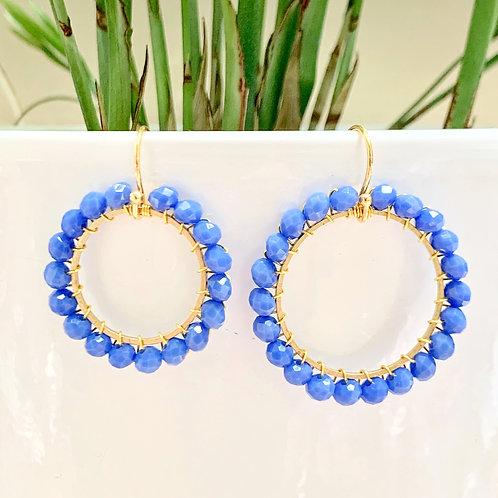 Cornflower Blue Round Beaded Earrings