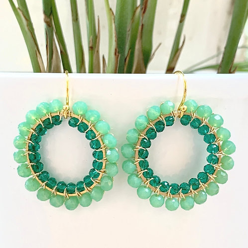 Mint Green & Teal Double Beaded Round Earrings