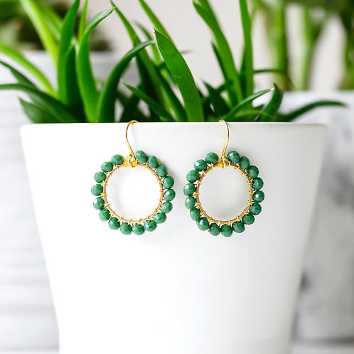 Forest Green Round Beaded Earrings