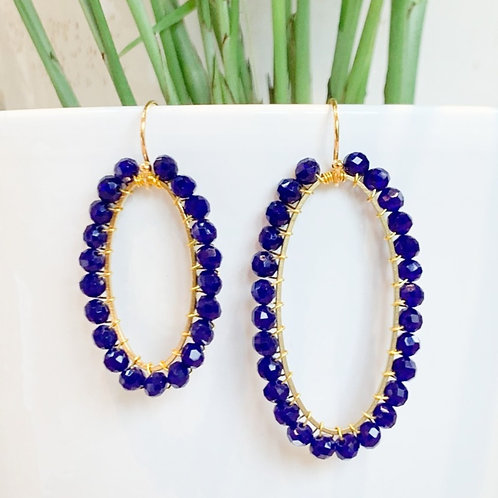 Electric Blue Oval Beaded Earrings
