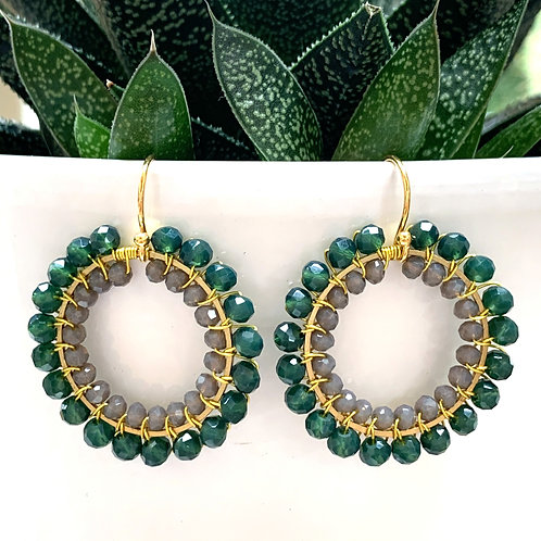 Emerald Green & Grey Round Double Beaded Earrings