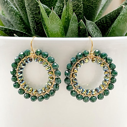 Emerald Green & Petrol Double Beaded Round Earrings