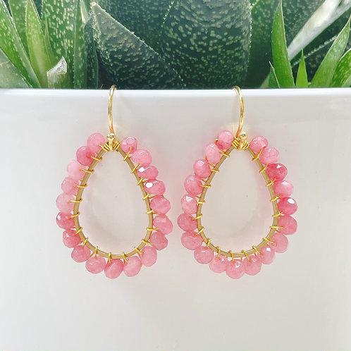 Bubblegum Pink Agate Beaded Teardrop Earrings