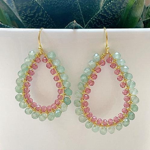 Mint Green Jade & Pink Jade Double Beaded Teardrop Earrings