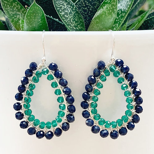 Midnight Blue & Sparkly Teal Double Beaded Teardrop Earrings (Silver)