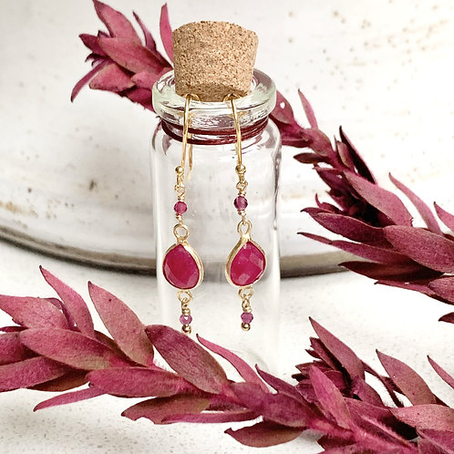 Pink Ruby Triple Drop Earrings in Corked Tube